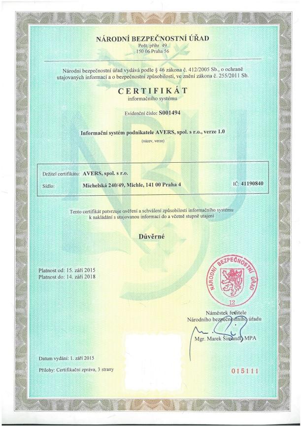 Certifikát NBÚ IS