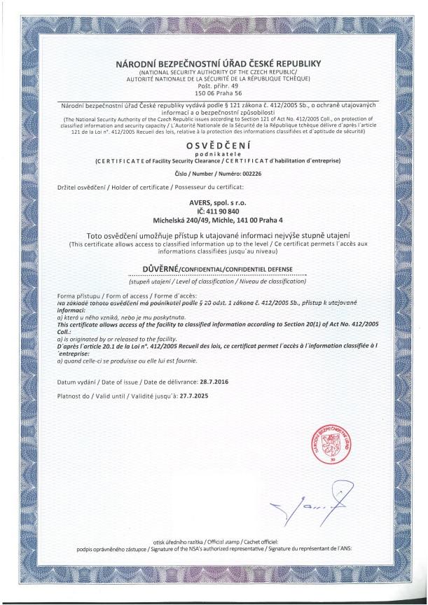 Certifikát NBÚ